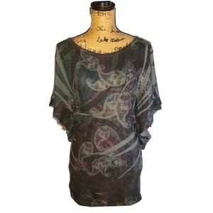 Rare- Gray Butterfly Sleeve Filagree Top